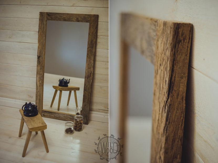 nietypowe meble podlaskie stolarz meble do salonu meble ze starego drewna, lustro w starej ramie