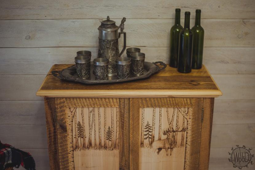 nietypowe meble podlaskie stolarz meble z motywem myśliwskim meble ze starego drewna